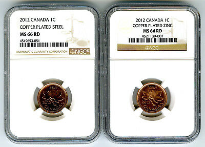 2012 Canada Cent Ngc Ms66 Rd Steel And Zinc Two Coin Set Last Year Of Issue