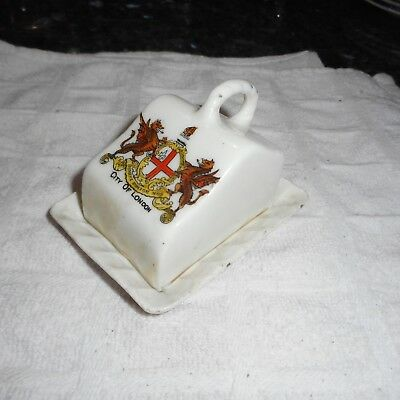 "Antique Goss Crested Ware Miniature Covered Cheese Dish ""City of London"""