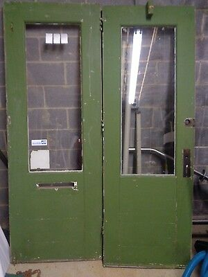 "ANTIQUE OAK DOUBLE HUNG ENTRANCE DOORS ~ 82"" x 60"" ~  ARCHITECTURAL SALVAGE"