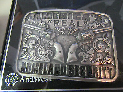 Andwest Men's Antique Silver America's Real Homeland Security BELT BUCKLE-559-02