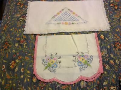 2 Different Vintage Embroidered Runners Pretty Pastels 1950s Era Sweet Crochet