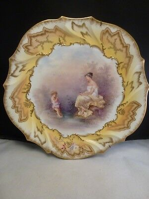 ANTIQUE  Limoges wall plate hand painted scene -ARTIST SIGNED  L.S. & S  CHARGER