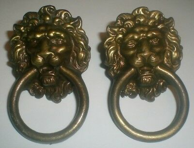 Set 2 Vintage Brass Lion Head Drawer Pulls