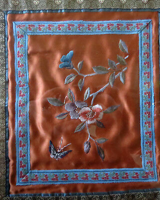 Antique Chinese Silk Needlework Picture Framed Flowers Butterfly Bamboo Frame