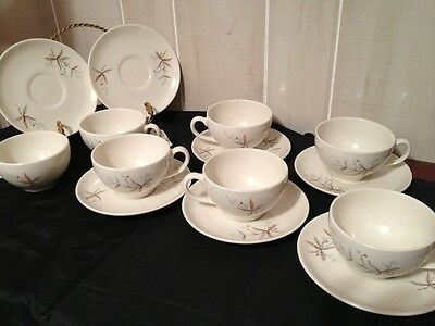 Syrause Finesse China 7 Cups And Saucers 1958-1967 Retro  Vintage