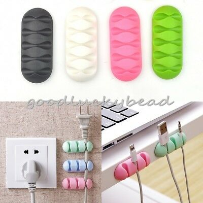 10x set Wire Cord Cable Tidy Holder Drop Clip Organizer Line Fixer Winder Cable