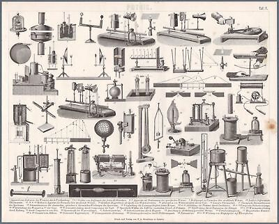 c1882 Brockhaus Print Physics Different Instruments Tools Devices Apparats