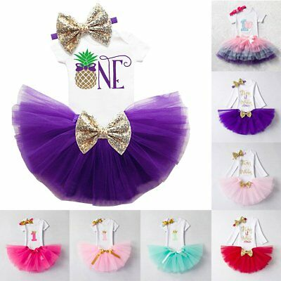 Baby Girls 1st Birthday Crown Romper Tutu Skirt Outfits Cake Smash 3PCS Clothes