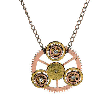Victorian Stage Steampunk Gear Clock Wheel Pendant Men Women Chain Necklace