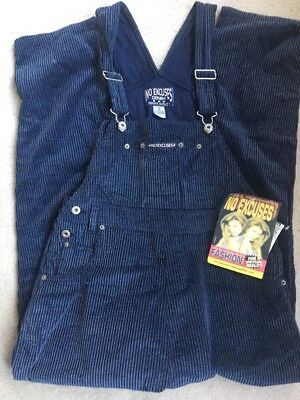 No Excuses Denim Cords Overalls size M Vintage Blue NEW NWT