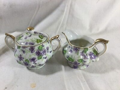 VINTAGE LEFTON CHINA CREAM and SUGAR BOWL HAND PAINTED VIOLETS GOLD TRIM