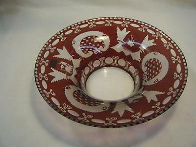 """Vintage Egermann Czech Ruby Red Cut to Clear Crystal Console Bowl 10 1/8"""""""