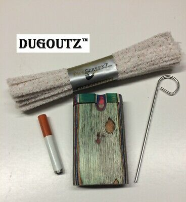 Wood assorted color Tobacco Dugout Set pipe Spring Loaded Metal One Hitter KIT