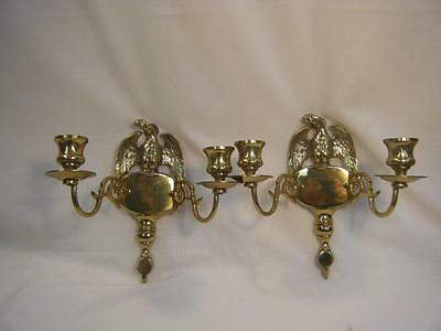 """Vintage Pair of Solid Brass Eagle Double Wall Sconces/Candle 8 1/4"""" wide"""