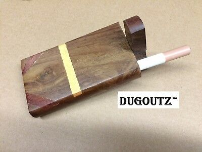 "Wooden Tobacco Dugout Set with pipe 4"" Spring Loaded (3"" Metal One Hitter) DO11"