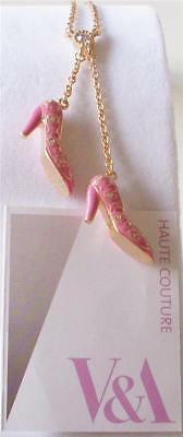 V&a - The Victoria And Albert Museum, London, Pink Shoes Drop Necklace Rrp £48.