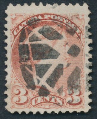 Canada #37a 3c Small Queen, Rose Shade, Fancy Geometric Cancel