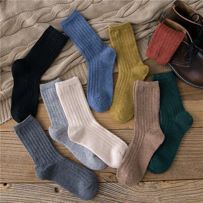 5 Pairs Women Wool Cashmere Warm Thick Solid Soft Casual Sports Winter Socks GY