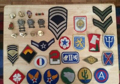 Lot of 33  WW2  Military Patches. & 12 Pins   - World War 2 Patches & Pins