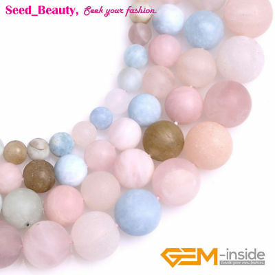 Natural Matte Frosted Round Multicolor Morgan Stone Semi Gemstone Beads 15""