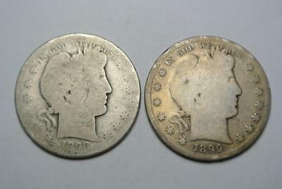 1898-S & 1899-S Barber Half Dollars, AG Condition - C4597