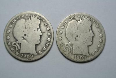 1908-S & 1909-S Barber Half Dollars, Good Condition  - C4613