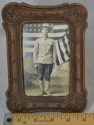 Picture frame eagles military emblem insignia WWI army marines antique 1900