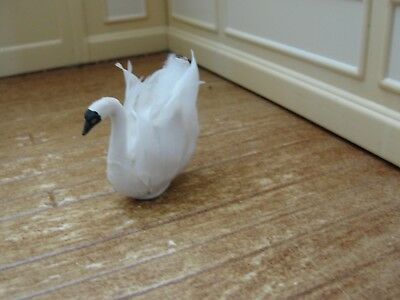 Dollhouse Miniature Feathered Sitting Swan   Artist Piece
