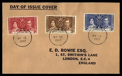 Swaziland 1937 Coronation FDC Tri-franked cover to London England