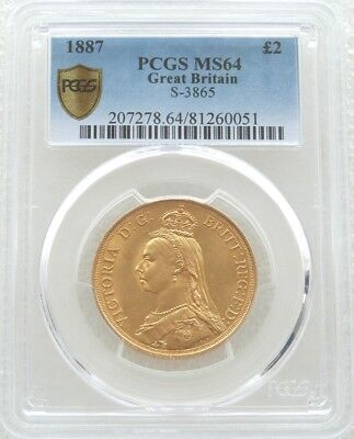 1887 British Victoria Jubilee Head £2 Pound Double Sovereign Gold Coin PCGS MS64