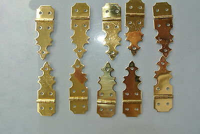 10 TINY restoration hinges vintage aged style solid Brass new polished brass BOX