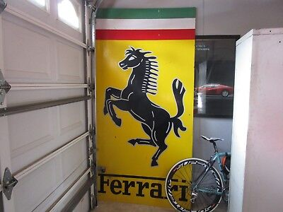Huge Vintage Ferrari Badge Dealership Painted Wood sign. 8 Feet tall 355 360 348
