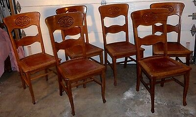 Antique Set of 6 Matching Quartersawn Red Oak Ladder Back Chairs-1890-1905
