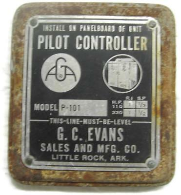 Vintage Evans Mercury Tilt Switch Box Cover Name Plate Tag - Industrial
