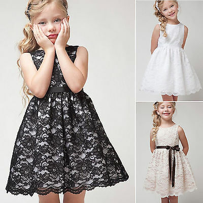 Kid Girl Pageant Lace Princess Bridesmaid Party Flower Skirt Tulle Tunic Dress B