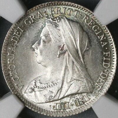 1901 NGC MS 66 Victoria Silver 6 Pence GREAT BRITAIN Coin POP 5/0 (17051701D)