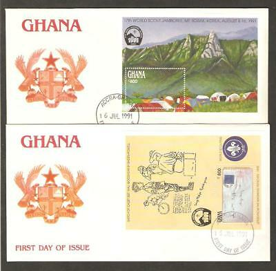 GHANA 1991 17th World Jamboree Korea BOY SCOUTS Bicycle STAMP ON STAMP 2 SS