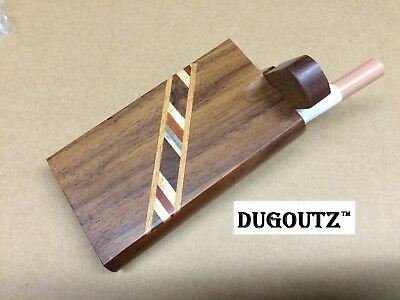 "Wooden Tobacco Dugout Set with pipe 4"" Spring Loaded (3"" Metal One Hitter) DO12"