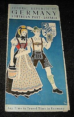 Vintage 1958 Federal Republic of Germany Southern Part Bavaria-Map & Brochure
