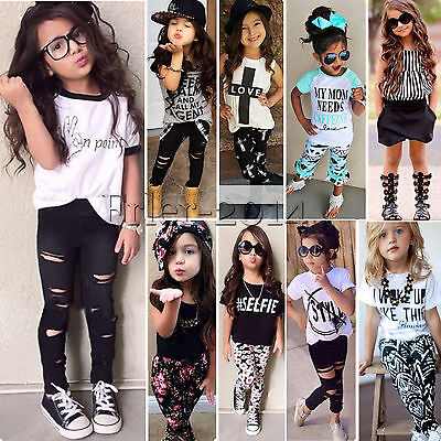 Kids Baby Girl Outfits Letter T-shirt Tops+Legging Pants Set Casual Clothes 0-8Y