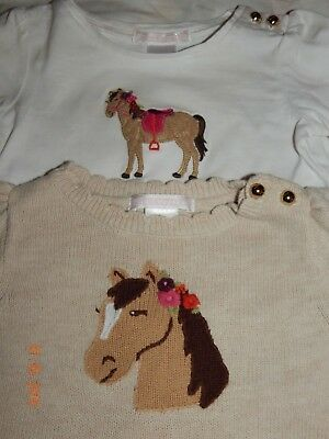 Janie and Jack Girls 12-18 Months EQUESTRIAN CHARM Sweater and Top SET ADORABLE