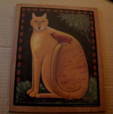 Wood CAT CARDINAL country primitive wall art decor wooden plaque sign