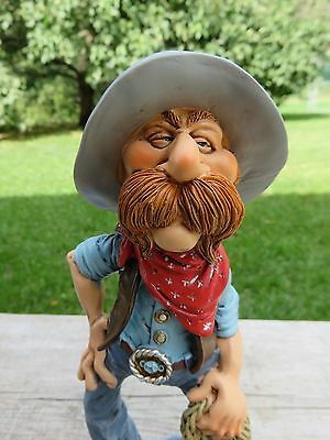 Cowboy Figurine Warren Stratford 6.7 In. Resin Holds Rope Bow Legged Boots New