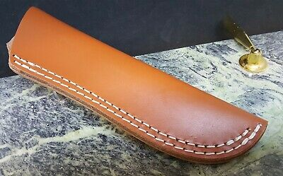 """Smooth Brown Leather Fixed Blade Knife Belt Sheath for up to  5 1/2"""" Blades"""