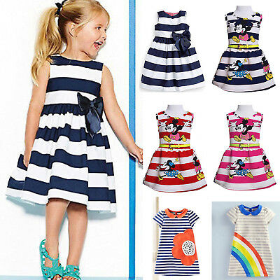 Summer Kids Baby Girls Striped Party Dress Tops Casual Toddler Dresses Sundress
