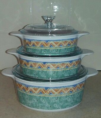 Churchill Jeff Banks ports of call Kabul set of 3 lidded casserole dishes