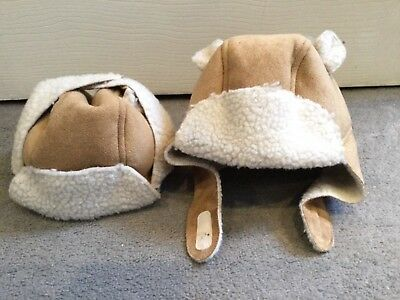 Baby Gap Faux Suede Tan Colour Hat With Cream Faux Sheepskin Hat & Closure- New