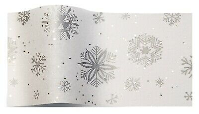 WHITE SNOWFLAKE GEMSTONE WRAPPING TISSUE PAPER SHEETS ~ SPARKLY GLITTER 35x45cm