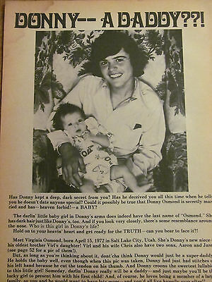 Donny Osmond, Osmonds Brothers, Full Page Vintage Clipping