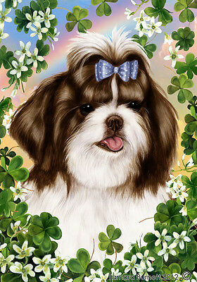 Garden Indoor/Outdoor Clover Flag - Brown & White Shih Tzu 311751